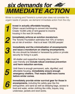 Six Demands for Immediate Action made by ESN, Toronto Overdose Prevention Site and the Shelter Housing Justice Network