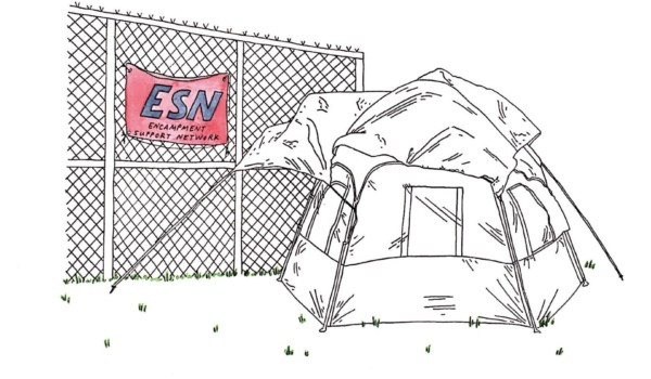 A drawing of a tent next to a chainlink fence with a sign hung on it that reads