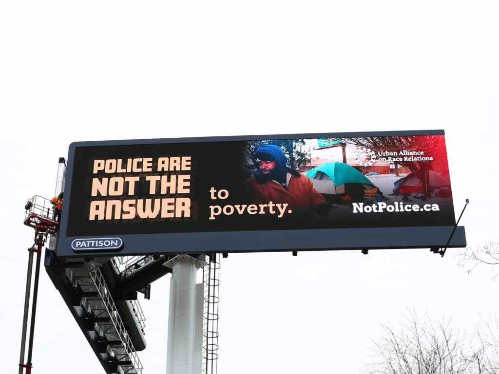 Police are not the answer to poverty billboard | Courtesy of Urban Alliance on Race Relations