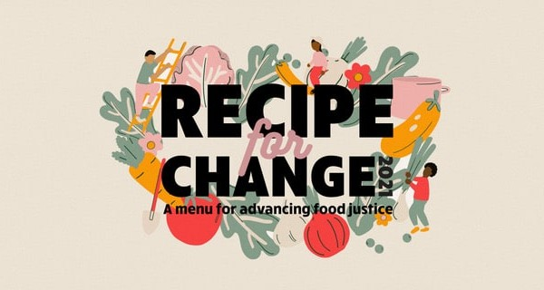 Recipe for Change wording with illustrated vegetables around it.