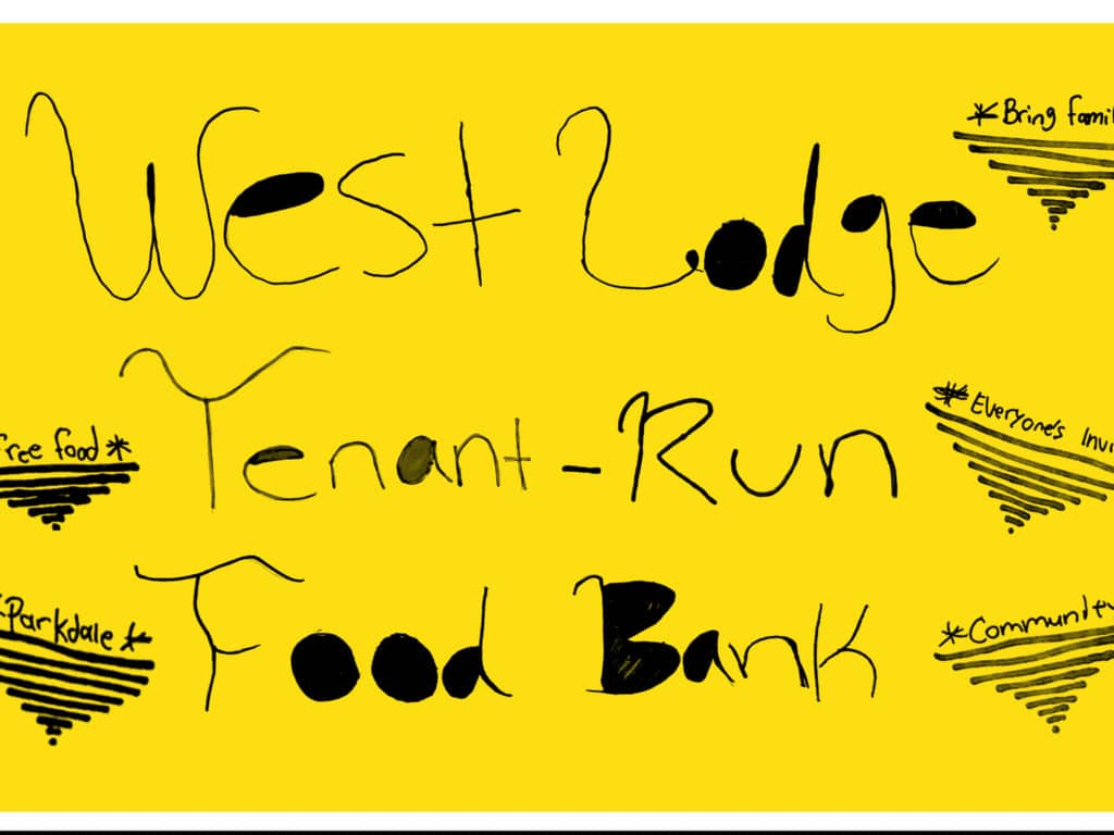 West Lodge tenant-run food bank graphic, black lettering against yellow background