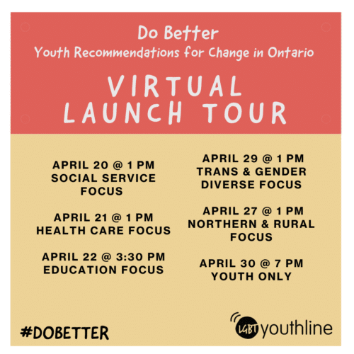 Graphic listing event dates for the Do Better report virtual launch tour