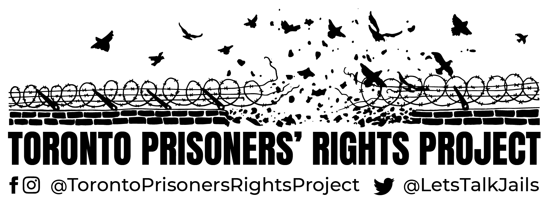 Black and white logo for Toronto Prisoners' Rights Project