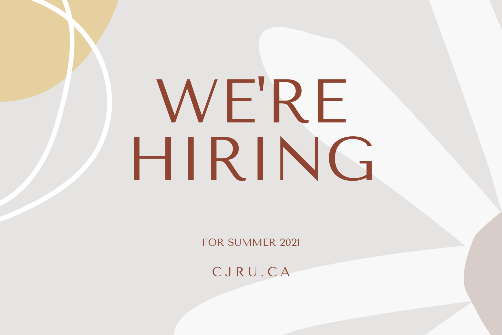 We're Hiring for summer 2021
