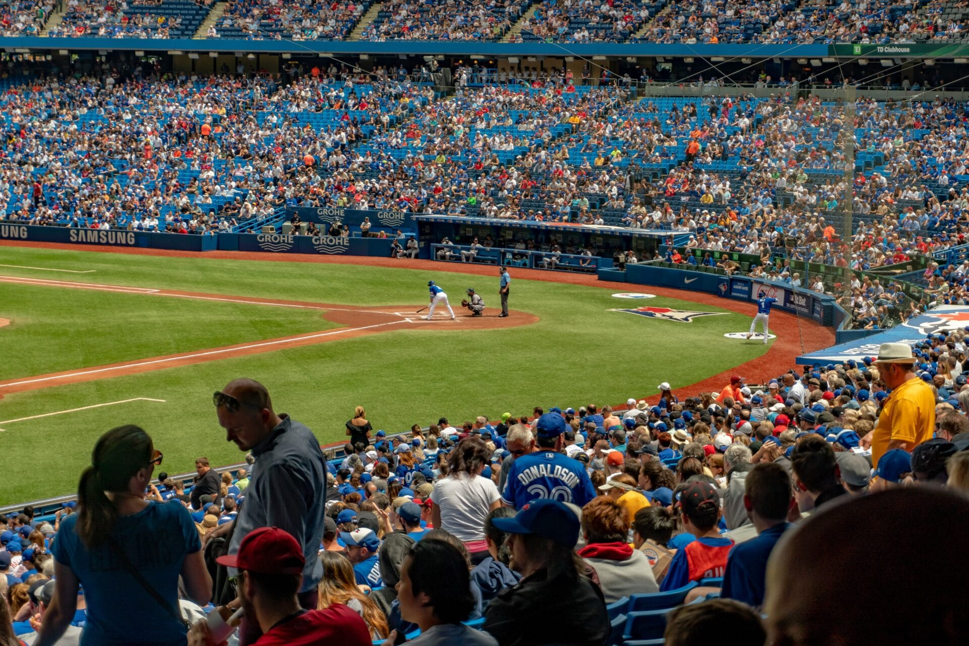 Crowd of people in a baseball stadium